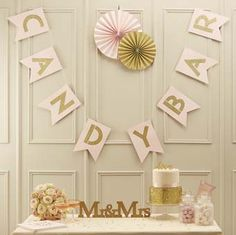 I've just found Pastel Pink And Gold Glitter Candy Bar Bunting. Stunning 'Candy Bar' pastel pink and gold glitter flag bunting. Décoration Candy Bar, Candy Bar Wedding, Gold Wedding, Wedding Pastel, Wedding Dj, Wedding Signs, Pastel Candy, Pink Candy, Pastel Pink