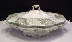 Antique Emerald By Henry Alcock Co. Covered Tureen Green Semi Porcelain     #759 picclick.com