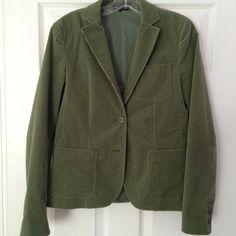 Beautiful Theory Blazer Moss green cotton stretch blazer by Theory from Bergdorf Goodman.  Velvety corduroy. Three button front. Theory Jackets & Coats Blazers