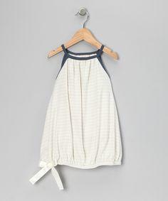 Blue & White Bow Organic Dress - Toddler & Girls