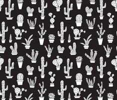 Black and white trendy summer cactus theme botanical garden gender neutral cacti and succulent garden illustration print fabric by littlesmilemakers on Spoonflower - custom fabric