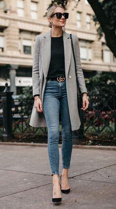 Blonde Woman Wearing Zara Grey Wool Coat Black Sweater Denim Skinny Jeans Gucci Marmont Belt Christian Louboutin Black Pumps Fashion Jackson Dallas Bl… - All About Casual Work Outfits, Business Casual Outfits, Work Attire, Mode Outfits, Work Casual, Casual Chic, Fashion Outfits, Heels Outfits, Blazer Fashion