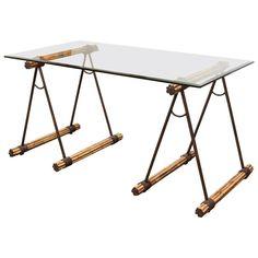 Glas top sawhorse Schreibtisch custom home office Möbel Überprüfen Sie mehr unter http://mobeldeko.info/41355/glas-top-sawhorse-schreibtisch-custom-home-office-moebel/