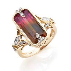 Rarities: Fine Jewelry with Carol Brodie   6.6ct Tourmaline and Diamond 14K Gold Ring