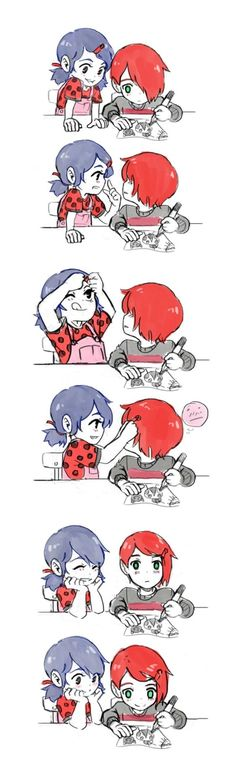 Cute Marinette and Nathanael! (Miraculous: Tales of Ladybug & Cat Noir) I don't ship them but this is so darn cute