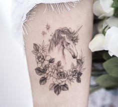 Xăm Hình Tattoo by Goyo Unicorn Tattoos, Animal Tattoos, Horse Flowers, Tattoo Spirit, Fine Line Tattoos, Animal Design, Flower Tattoos, Tattoo Designs, Tattoo Ideas