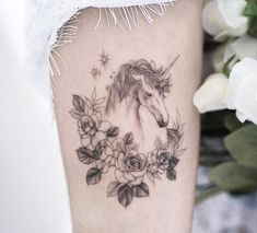 Xăm Hình Tattoo by Goyo Unicorn Tattoos, Animal Tattoos, Horse Flowers, Tattoo Spirit, Fine Line Tattoos, Animal Design, Flower Tattoos, Tattoo Inspiration, Piercings
