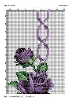 - Her Crochet Cross Stitch Borders, Cross Stitch Rose, Cross Stitch Flowers, Cross Stitching, Cross Stitch Patterns, Fillet Crochet, Prayer Rug, Purple Roses, Tribal Art