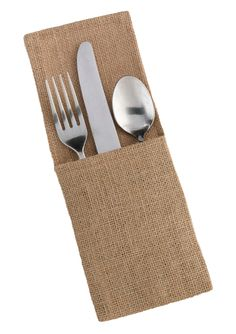 Give guests that personal touch with these burlap silverware holders on the tables. They can be personalized with names, date and decorative touches. The silverware holders come in a set of four and m More