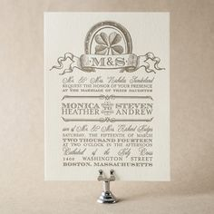 Antique Luck Wedding Invitation Design