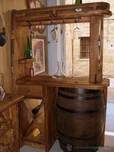 When setting up a basement bar there are some must have items you must have around or your basement bar won't really be a bar but just a basement pretending to be. Rustic Bathroom Designs, Home, Barrel Bar, Mini Bar At Home, Backyard Bar, Bars For Home, Mini Bar, Bar Design, Rustic House