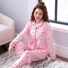 Pajamas Sets for Women long sleeved tops+long pants Sleepwear Suit 2 Piece Sexy ladies Home wear Woman Gift 2018 autumn Night Suit For Girl, Girls Night Dress, Night Dress For Women, Cotton Sleepwear, Cotton Pyjamas, Sleepwear Women, Long Tops, Long Sleeve Tops, Pink Silk Pajamas