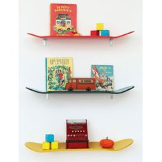 Skateboard shelf units, how cool are these?