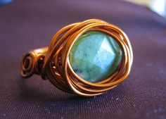 """Copper Wire Wrapped Ring with Chrysoprase Stone - Size 7 - """"Green Eggs and Wire"""" Wire Rings, Wire Wrapped Rings, Copper Jewelry, Copper Wire, Handmade Rings, Green Eggs, Stone Beads, Wire Wrapping, Give It To Me"""