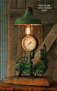 Steampunk Lamp Industrial Machine Age Steam Gauge Light Train Nautical Loft Gear