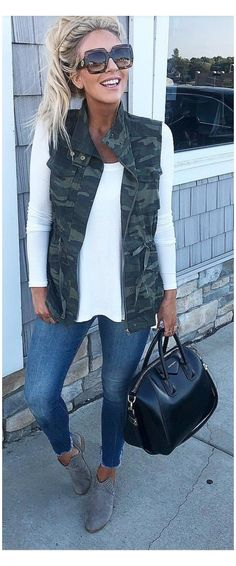 Spring Outfits Women Casual, Fall Winter Outfits, Casual Outfits, Cute Outfits, Casual Wear, Summer Outfits, Vest Outfits For Women, Fall Outfits 2018, Look Fashion