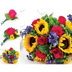 1 Bridal Bouquet; 2 Bridesmaid Bouquets; 4 Boutonnieres; 2 Corsages; 1 Box of Petals