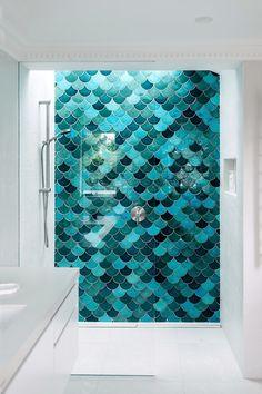 Ideas For House Bathroom Design Showers Bad Inspiration, Bathroom Inspiration, Dream Bathrooms, Beautiful Bathrooms, Mermaid Tile, Ariel Mermaid, Mermaid Bathroom, Mermaid Scales, Three Birds Renovations