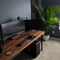 tech home office work spaces & tech home office + tech home office design + tech home office ideas + tech home office decor + tech home office work spaces + tech home office for men + high tech home office + tech desk setup home office Bedroom Workspace, Workspace Design, Office Workspace, Bedroom Setup, Home Office Setup, Home Office Space, Home Office Design, Office Ideas, Desk Ideas