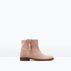 Image 1 of LEATHER BOOTS WITH TASSELS from Zara