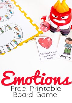 This free printable Emotions board game is perfect for kids who need help learning how to properly express their emotions. Happy, sad, scared, angry and bored are the fun emotions that they will be exploring through play and conversation. Emotions Game, Feelings Games, Emotions Preschool, Teaching Emotions, Emotions Activities, Happy Emotions, Articulation Activities, Free Board Games, Preschool Board Games