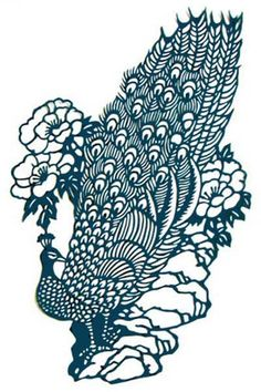 CHINESE PAPER CUT GREEN PEACOCK