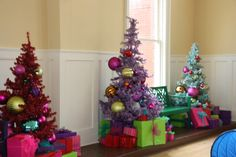 Christmas in Whoville----instead of 1 christmas tree....give the kids their own little tree to decorate, cute idea!!