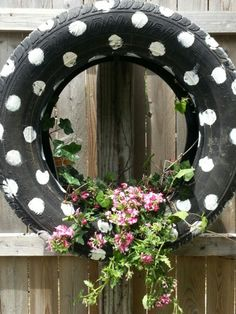Upcycling like just using polka dots instead of painting the whole tire. Would use a bright bold color for the dots