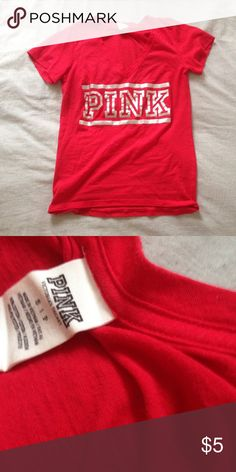 Pink Tee Red with slight wear PINK Victoria's Secret Tops Tees - Short Sleeve