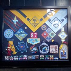 Cub Scout Frame...Place shirt and all their badges earned during cub scouts.