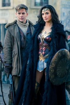Gal Gadot as Diana Prince and Chris Pine as Steve Trevor, Wonder Woman