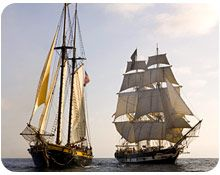 Tall Ships at the Ocean Institute - The Brig, the Pilgrim and the Spirit of Dana Point.  Located in the harbor of Dana Point, CA