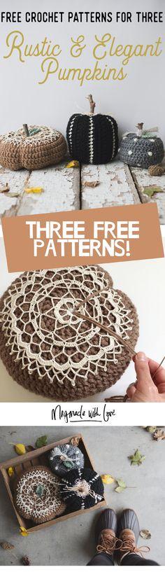 Three Free Crochet Rustic & Elegant Pumpkins - Megmade with Love