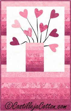 Fusible applique wall hanging for Valentine's Day. Jar of Hearts Quilt Pattern CJC-4656 by Castilleja Cotton - Diane McGregor.  Check out our holiday patterns. https://www.pinterest.com/quiltwomancom/holiday-special-occasion-patterns/  Subscribe to our mailing list for updates on new patterns and sales! https://visitor.constantcontact.com/manage/optin?v=001nInsvTYVCuDEFMt6NnF5AZm5OdNtzij2ua4k-qgFIzX6B22GyGeBWSrTG2Of_W0RDlB-QaVpNqTrhbz9y39jbLrD2dlEPkoHf_P3E6E5nBNVQNAEUs-xVA%3D%3D