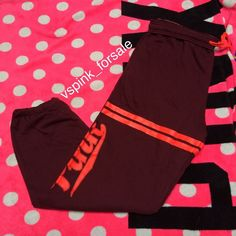 VS PINK Campus Pants New in online packaging. Oversized fit. Maroon with orange details  No trades. I have this listed for less on Ⓜ️ercari Use code FWXENR when you sign up for $2 off first purchase  Search vspink_forsale to find my closet  PINK Victoria's Secret Pants Track Pants & Joggers