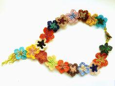 Short beaded necklace Summer blossoms  bright by LaGansaHandiwork