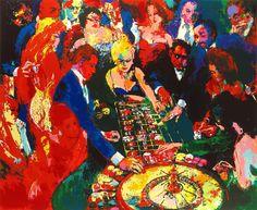 "LeRoy Neiman "" Las Vegas casino "" oil painting fine art Giclee prints on cotton canvas OVERSIZE decoration Wall art"