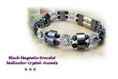 Black Magnetic Bracelet  Black and Silver Magnetic by redhatlady #pottiteam