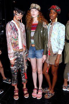 NEW YORK, NY - SEPTEMBER 08: Models pose backstage at the Desigual fashion show…