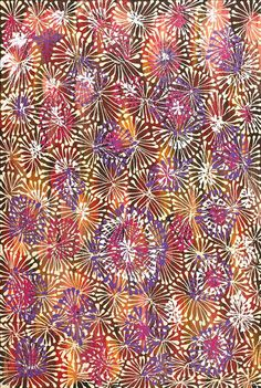 Amazing Australian Aboriginal Artwork by Sylvaria Napurrurla Walker / Red Mallee Flower Dreaming is the title of the painting. Aboriginal Dreamtime, Aboriginal Artwork, Aboriginal Artists, Indigenous Australian Art, Indigenous Art, Coastal Paint, Contemporary Decorative Art, Colorful Artwork, Naive Art