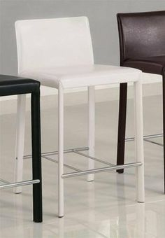 Set Of 2 24 H Counter Height Stools White Leather Like By Coaster Home Furnishings