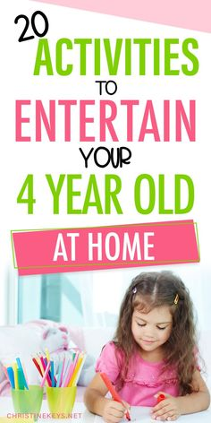 20 Activities to entertain your 4 year old at home. These are cheap or free activities for preschoolers to do at home. Entertain your 4 year old with these easy, fun activities for home. Activities For 5 Year Olds, Kids Activities At Home, Babysitting Activities, Educational Activities For Kids, Preschool Activities, Nanny Activities, Indoor Activities, Gentle Parenting, Parenting Tips