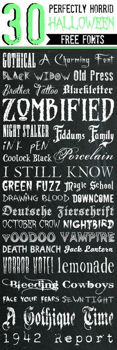 30 Halloween Fonts The Crafted Sparrow - Fonts - Ideas of Fonts - The Crafted Sparrow: 30 Halloween Fonts Fancy Fonts, Cool Fonts, Halloween Fonts, Halloween Season, Halloween Crafts, Halloween Poster, Halloween Design, Holiday Fonts, Holiday Decor