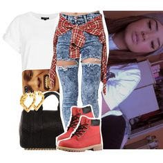 Full outfit: White tee, high waisted destroyed acid wash skinny jeans, red timberlands @Alesemonique