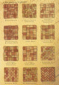 Brick patterns- inspiration for wine cork trivet patterns Mehr Wine Cork Projects, Wine Cork Crafts, Wine Cork Trivet, Brick Projects, Wine Cork Table, Brick Crafts, Bottle Crafts, Brick Tiles, Brick Flooring