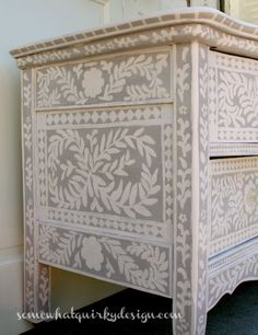 how a pearl inlay inspired dresser, chalk paint, painted furniture Hand Painted Furniture, Paint Furniture, Repurposed Furniture, Shabby Chic Furniture, Furniture Projects, Furniture Makeover, Furniture Design, Dresser Furniture, Hand Painted Dressers