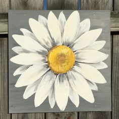 Daisy Painting on a Wood Panel Original Flower Art Gray - Modern Design Daisy Painting, Easy Canvas Painting, Canvas Art, Canvas Paintings, Canvas Ideas, Rustic Art, Pallet Art, Pictures To Paint, Ideas