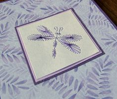Purple Beetle or Dragonfly mauve leafy by SandrasCardShop on Etsy,