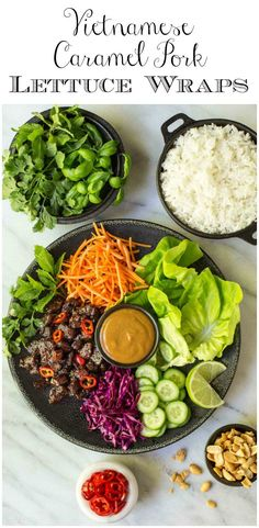 These crazy-delicious Vietnamese Carmel Pork Lettuce Wraps make a fresh, light weeknight meal and are also perfect for a dinner party. #vietnamese #vietnamesefood #lettucewraps #healthyfood #healthdinneridea, #freshanddelicious via @cafesucrefarine