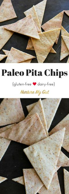 These Paleo Pita Chips are savory, crunchy and perfect for dipping into guacamole or a gigantic scoop of your favorite tuna salad.  They are brightened up with a hint of chili and garlic powder to give them a delightful zing.   Grain free, Gluten free & Dairy free pita chips.